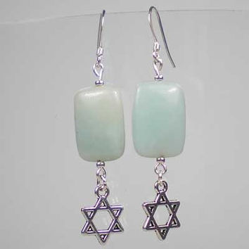Amazonite Drop Earrings, Semi Precious Stone, Star of David Magen David Charm Inspirational Religious Judaica Jewish UK Handmade 10036