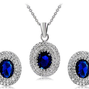 925 Silver Plated Blue Crystal Decorated Earrings & Necklace Set