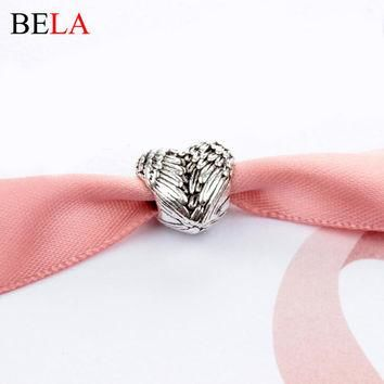 European Silver Delicate 925 Angel Wings Heart Charm Beads fit Pandora Bracelets For W