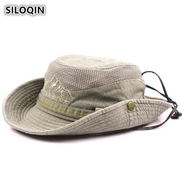 SILOQIN Men's Cap Summer 100% Cotton Retro Mesh Breathable Bucket Hats Western 2018 New Style Wind Rope Fixed Dad's Beach Hat