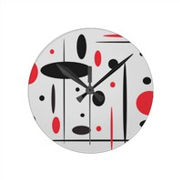 Black, Red and White Abstract Wall Clock