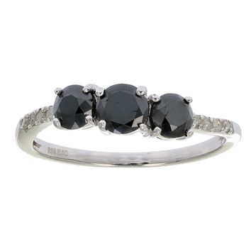 0.91 Carats 1 CT 3 Stone Black and White Diamond Ring With Twist Sterling  Silver 34d0eb16b411