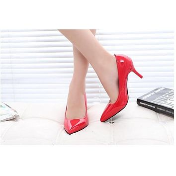 New Summer Thin Pumps Sexy Fashion Metal High Heels Mirror Patent Leather Pointed Women Single Shoes