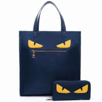Fendi 2018 fashion wild two-piece big monster nylon big bag blue