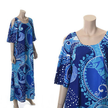 Vintage 60s 70s Mod Floral Blue Hawaiian Dress 1960s 1970s Liberty House Hawaii Polynesian Luau Muumuu Dress Hippie Boho Caftan