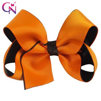 """4"""" Orange Black Layers Ribbon Bows With Clips For Girls Kids Handmade Boutique Halloween Hair Bow Hairpins Hair Accessories"""