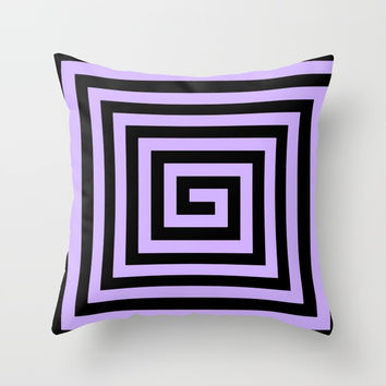 Graphic Geometric Pattern Minimal 2 Tone Big Swirl Zig-Zag (Lavender Purple & Black) Throw Pillow by AEJ Design