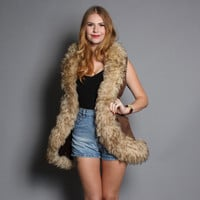 60s SHEARLING & SUEDE VEST / Fluffy Sheepskin Fur Trim Brown Vest