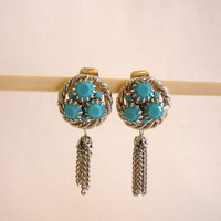 Turquoise Earrings, Milk Glass Faceted Turquoise Stone Earrings, Dangle Earrings,Tassel Earrings