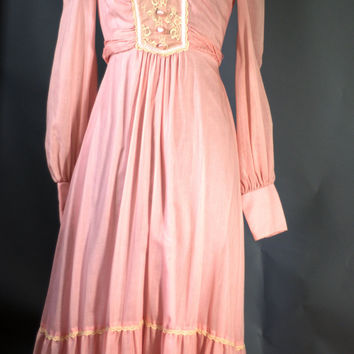 Vintage 1970s Jody T of California Bubblegum Pink Floor length Dress USA Size XS