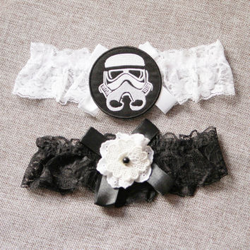 Star Wars Stormtrooper Bridal Garter Wedding Garter - Keepsake Garter Toss Garter Garters - Geek Nerd Garter Set