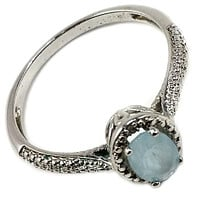 Blue Topaz Solitaire Ring Crystal White Gold Plate Size 10 Womens Fashion r238