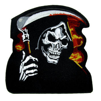 Burn in Hell Grim Reaper w/ Scythe Patch Iron on Applique Alternative Clothing