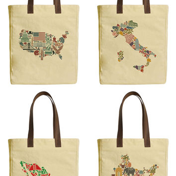 Map of Counties Beige Printed Canvas Tote Bags Leather Handles WAS_30