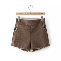 Lace Woolen Shorts With Pocket