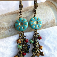 Teal Czech glass flower earrings with czech glass dangle.
