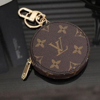 PEAPIH3 LV Louis Vuitton Stylish Round Leather Key Pouch Wallet Coin Purse I