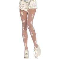 Darling Daisy White Sheer Floral Pattern Tights Stockings Hosiery