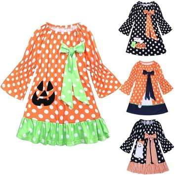 Halloween Costumes Baby Girls Dress Polka Dot Pumpkin Dresses Bow Girl Clothes Children One-Piece Clothing Kids Jumpers Cotton