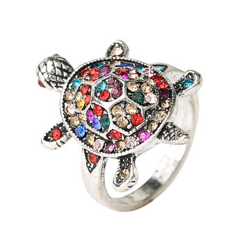 Colorful Crystal Tortoise Ring