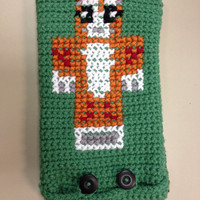 Minecraft Stampy Cat & Creeper iPad/Tablet Case - Geekery/Nerd - Handmade Crochet Tech Pouch/Clutch/Bag/Cover Accessory