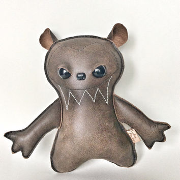 Leather Bear - Teddy Bear - Stuffed Bear - Bear Art - Creepy Cute - Home Decor - Bear Decor - Bear Nursery Decor - Leather Toy - Brown Bear