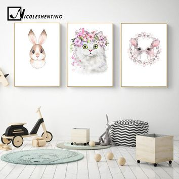 Kawaii Animal Rabbit Cat Nursery Canvas Poster Canvas Prints Wall Art Painting Wall Pictures for Children Living Room Home Decor
