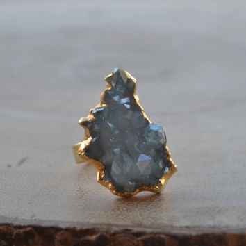 JULY 4th SALE AURA /// Crystal Quartz Cluster Ring /// Aqua Aura /// size 10