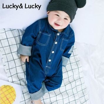 Newborn bebes baby boy clothes denim baby rompers long sleeve baby boy romper casual newborn baby clothes