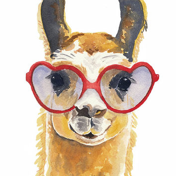 PRINT Llama Watercolour, Llama Illustration, Watercolour Painting Print, 5x7 Print