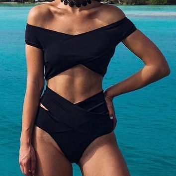 Solid Off The Shoulder Bandage Bikini Set
