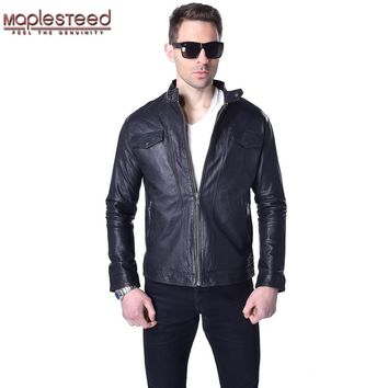 Factory 100% Vegetable Tanned Goat Skin Genuine Leather Jacket Men Leather Coat Slim Bomber Men's Leather Jacket Autumn ZH042