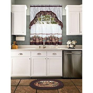 Ben&Jonah Collection Woodlands - Printed Tier & Swag Window Curtain Set 57x24 - Brown