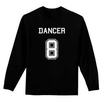 Reindeer Jersey - Dancer 8 Adult Long Sleeve Dark T-Shirt