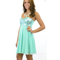 Nixie Sequined Strapless Chiffon Mint Dress