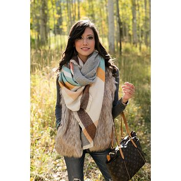 Grace & Lace Reversible Button Scarf/Poncho in Cream/Multi-Color