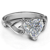 Heart Shaped Stone with Interwoven Heart Infinity Band