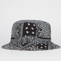 Blue Crown Reversible Paisley Mens Bucket Hat Black One Size For Men 23025710001