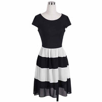 Summer Dress 2017 Women Fashion Elegant Casual Short Sleeve O Neck White and Black Striped Patchwork