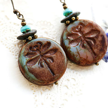Dragonfly earrings, Earthy colored Dangle Earrings, Dragonfly Jewelry, Beaded Earrings, Woodland Jewelry, Rustic Turquoise