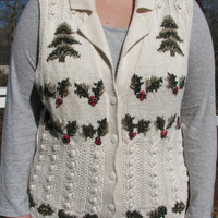 Christmas, Christmas sweater, christmas vest, tacky christmas sweater, tacky christmas vest, tacky sweater, tacky vest, white vest, knitted