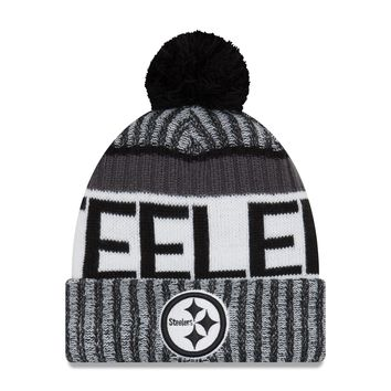 Pittsburgh Steelers NFL17 Black And White Sideline Cuffed Pom Knit Hat By New Era