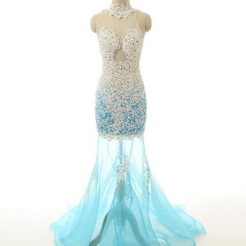 Sexy Through Tulle Applique Lace Prom Dress Mermaid Court Train Backless Long Prom Dress