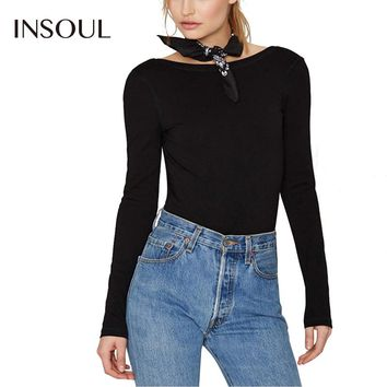 INSOUL 2017 New Fashion Women Black Sexy Backless Shaping Elegetn Solid Color Bodysuit Long Sleeves Natural Waist Jumpsuits