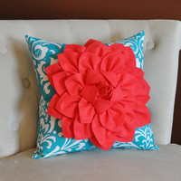 Coral Flower on Turquoise and White Damask Pillow Accent Pillow Throw Pillow Toss Pillow Decorative Pillow 16 x 16