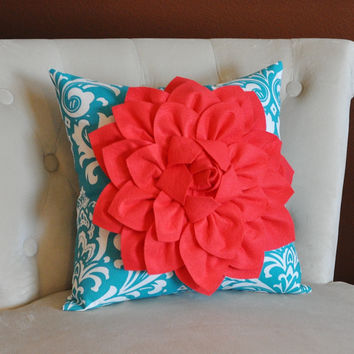 coral flower on turquoise and white damask pillow accent pillow throw pillow toss pillow decorative pillow