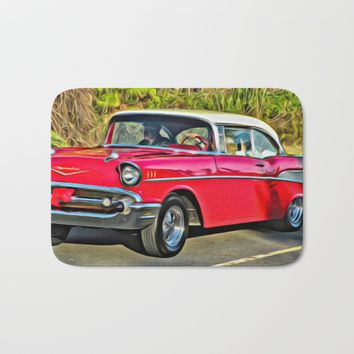 Sunday Drive in the '55 - digital paint Bath Mat by Scott Hervieux