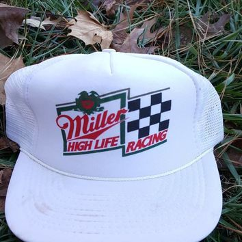 Vintage Miller High Life Racing hat adjustable snapback cap alcohol beer party