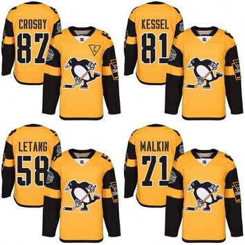 Youth 2017 Stanley Cup Champions Pittsburgh Penguins 87 Sidney Crosby 71 Evgeni Malkin 81 Phil Kessel Letang 2017 Stadium Series Jersey