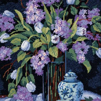 """Tulips & Lilacs Needlepoint Kit 12""""X16"""" Stitched In Floss"""